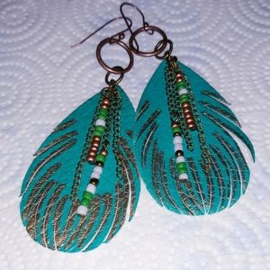Faux leather boho  feather earrings